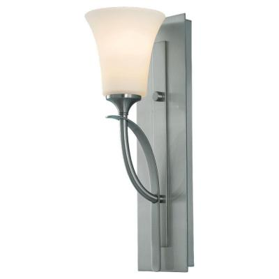 Barrington 5 in. W. Brushed Steel Wall Sconce with Opal Etched Glass Shade