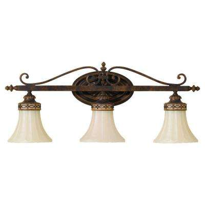 Drawing Room 3-Light Walnut Vanity Light