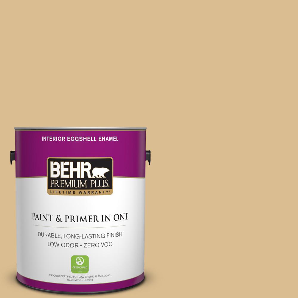 BEHR Premium Plus 1-gal. #340F-4 Expedition Khaki Zero VOC Eggshell Enamel Interior Paint