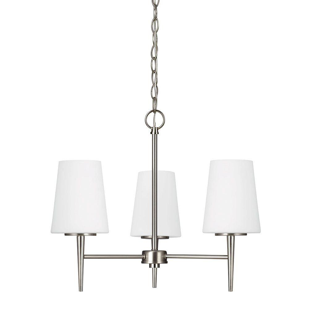 Sea Gull Lighting Driscoll 3-Light Brushed Nickel Chandelier with Inside White Painted Etched Glass