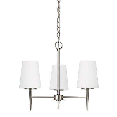 Driscoll 3-Light Brushed Nickel Chandelier with Inside White Painted Etched Glass