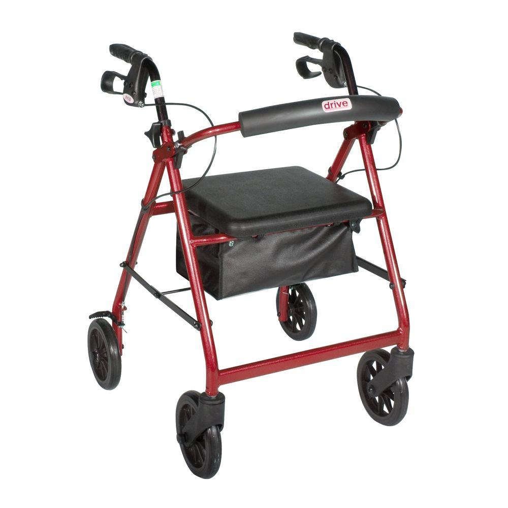 4-Wheel Rollator Walker with Removable Back Support and Padded Seat, 7.5