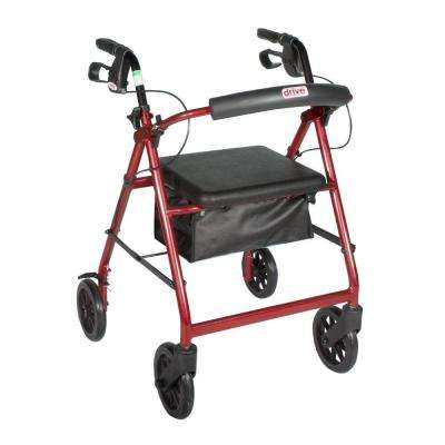 4-Wheel Rollator Walker with Removable Back Support and Padded Seat, 7.5 in. Wheels in Red
