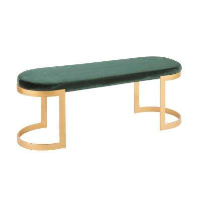Demi Gold and Green Velvet Bench