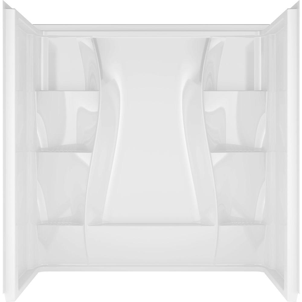 Classic 400 32 in. x 60 in. x 60 in. 3-Piece Direct-to-Stud Alcove Surround High Gloss in White
