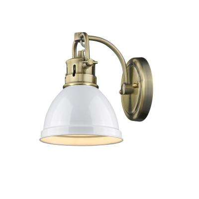 Duncan AB 1-Light Aged Brass Sconce with White Shade