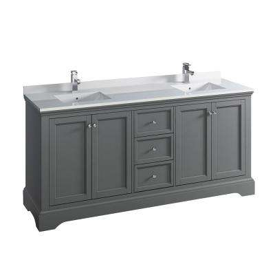 Windsor 72 in. W Traditional Double Bath Vanity in Gray Textured with Quartz Stone Vanity Top in White with White Basins