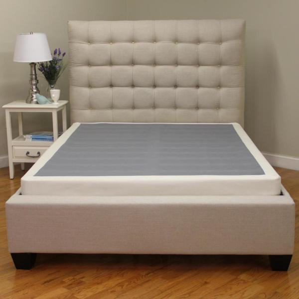 Instant Foundation Quick Assembly Wood Foundation With Cover 4 In King Low Profile Mattress Foundation Replacement Box Spring 123201 5060 The Home Depot