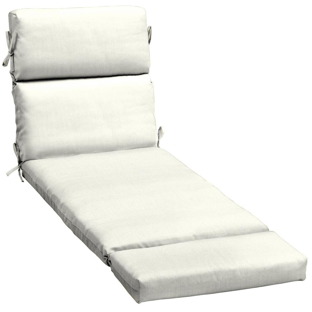 Home Decorators Collection 23 X 48 Sunbrella Canvas White Outdoor Chaise Lounge Cushion
