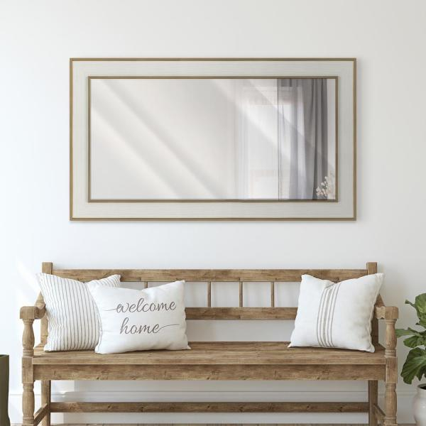 Unbranded Large Rectangle Whitewash Beveled Glass Contemporary Mirror 55 5 In H X 31 5 In W 18786 24p 60s The Home Depot