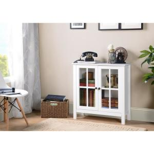 OS Home and Office White Glass Door Accent and Display Cabinet
