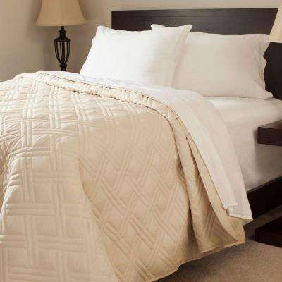 Solid Color Ivory Twin Bed Quilt