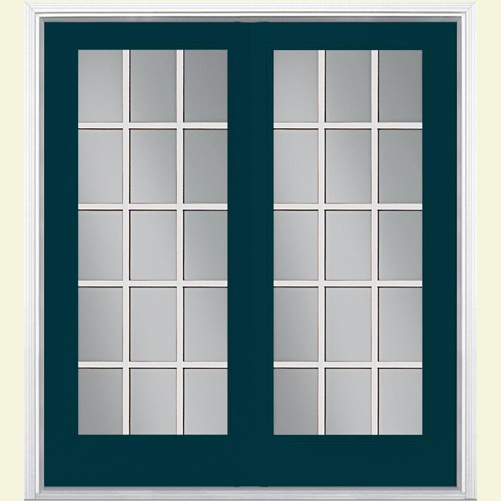 60 in. x 80 in. Night Tide Prehung Left-Hand Inswing 15 Lite Steel Patio Door with Brickmold