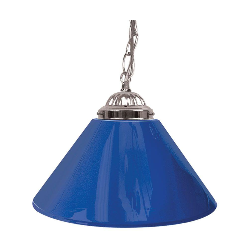 Trademark Global 14 in. Single Shade Blue and Silver Hanging Lamp