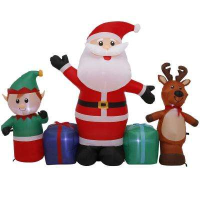 5 ft. Pre-Lit Life Size Airblown Inflatable Santa with Reindeer and Elf Scene