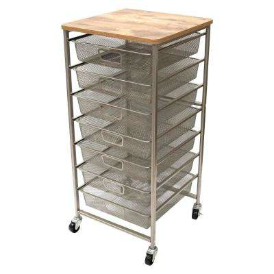 7-Drawer Metal Storage Cart in Champagne and Wood