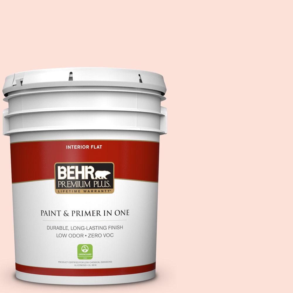 BEHR Premium Plus 5-gal. #200A-1 Peach Cloud Zero VOC Flat Interior Paint