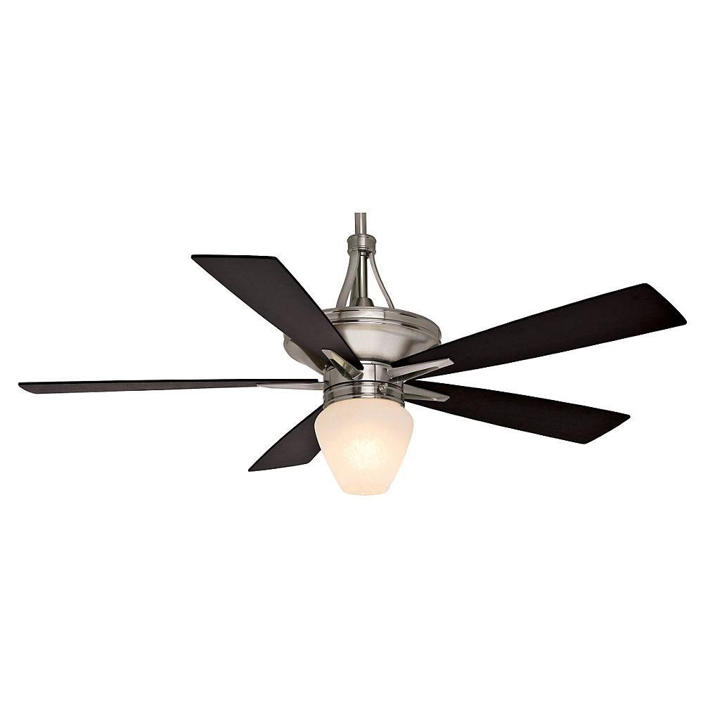 Casablanca bullet 54 in indoor matte black ceiling fan with light indoor brushed nickel ceiling fan with direct touch mozeypictures Choice Image