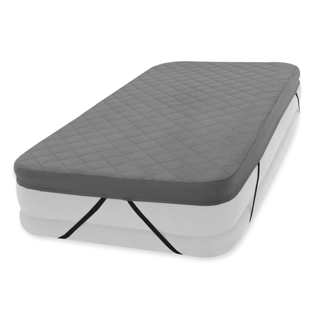 Intex 200 Thread Quilt Fitted Twin Size Airbed Mattress Cover in Gray (Cover Only) As if your twin airbed wasn't comfortable enough already, this Intex Fitted Twin Airbed Cover adds extra plush comfort to make your snooze time even more divine. Adding this layer of fitted comfort to your airbed (sold separately) is simply irresistible. It's ideal for mid rise to double high airbeds and fits twin airbeds up to 18 in. H. It features an elegant quilted pattern, is 100 % polyester, and machine washable. The 200 thread count makes your house guests more comfortable and adds loads of relaxation to your outdoor adventure. This Intex Twin Airbed Cover looks good, feels good, and makes you and your guests happy campers.