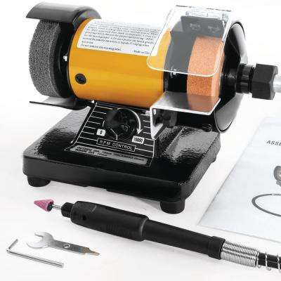 120-Watt 0 RPM to 10000 RPM Variable Speed Portable Mini Bench Grinder and Polisher with Flexible Shaft and Accessories