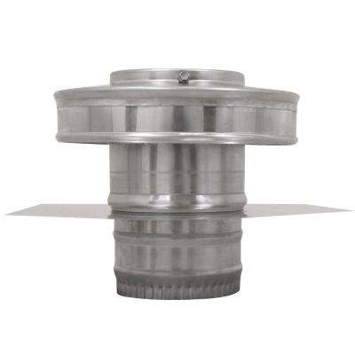 4 in. Dia Aluminium Round Back Ducted Vent Cap with 2 in. Collar and 2 in. Tail Pipe