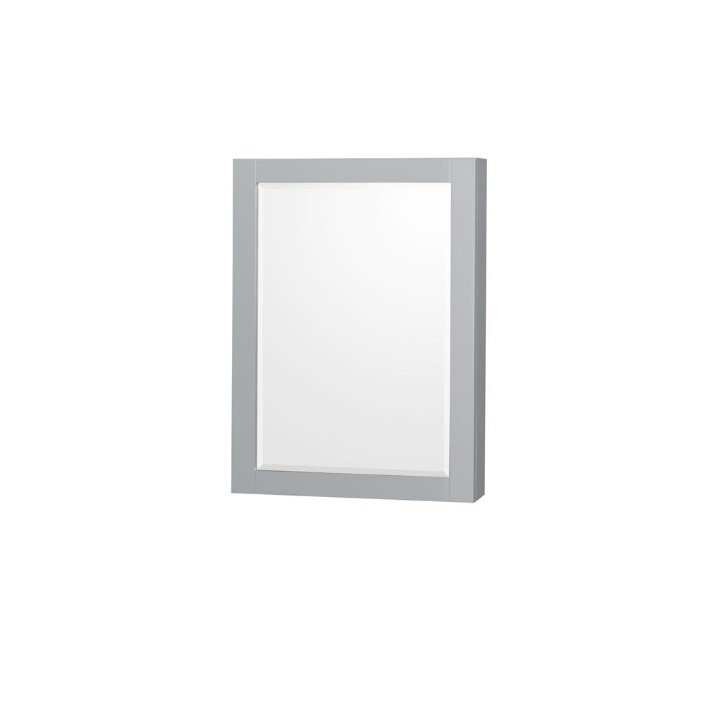 Wyndham Collection Sheffield 24 in. W x 33 in. H Framed Wall Mirror in Gray