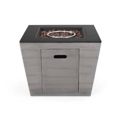 Langton 30 in. x 24 in. Square Concrete Propane Fire Pit in Dark Gray