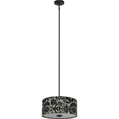 3-Light Ebony Bronze Chandelier with White Decadence Fabric Shade