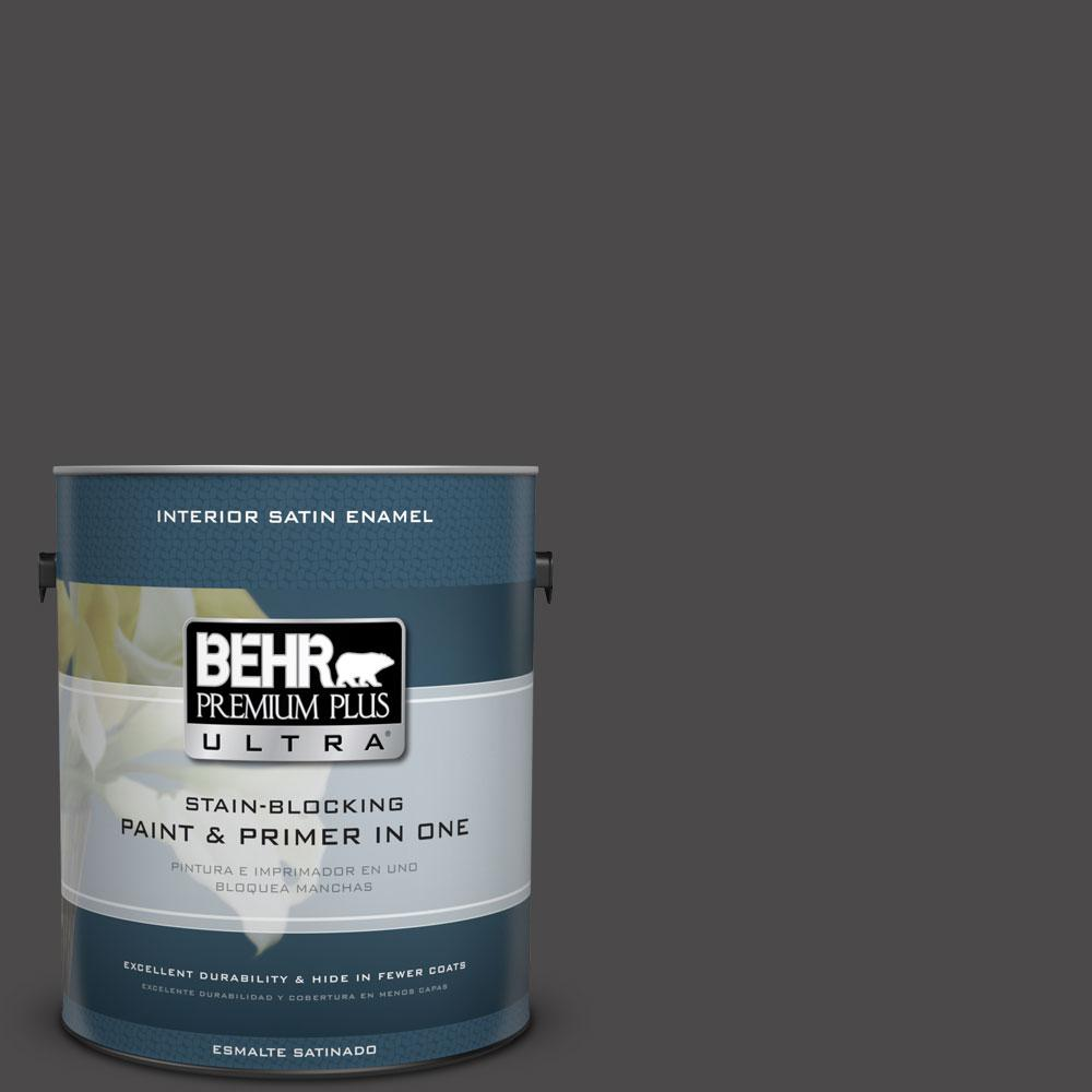 BEHR Premium Plus Ultra 1-gal. #N530-7 Private Black Satin Enamel Interior Paint