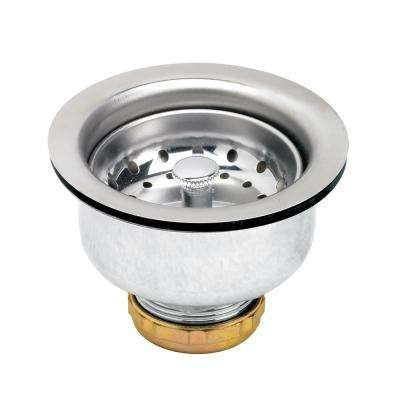3-1/2 in. - 4 in. Kitchen Sink Stainless Steel Drain Assembly with Strainer Basket Stopper Double Cup Design