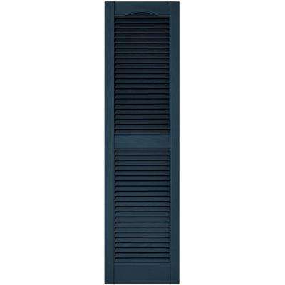 15 in. x 55 in. Louvered Vinyl Exterior Shutters Pair in #036 Classic Blue