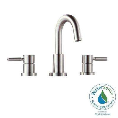 Positano 8 in. Widespread 2-Handle High-Arc Bathroom Faucet in Brushed Nickel with Drain