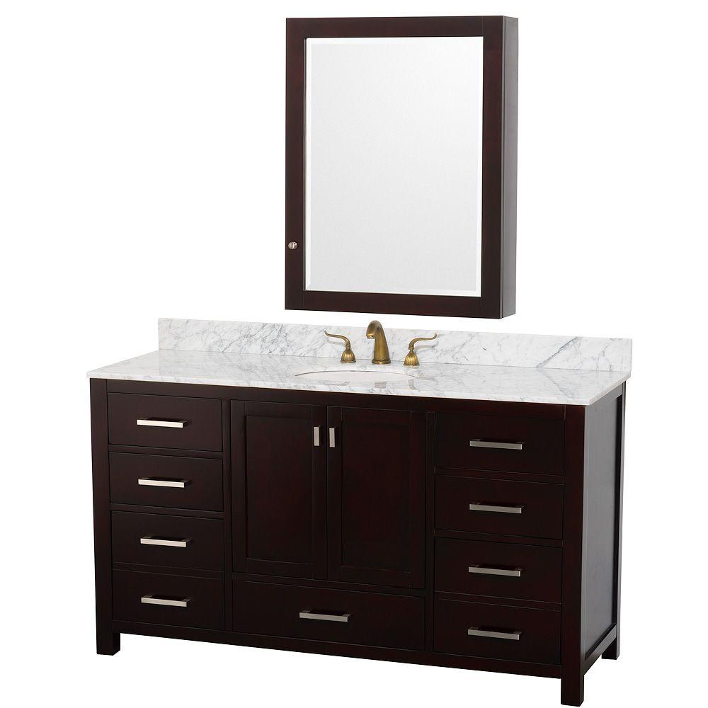 Wyndham Collection Abingdon 61 in. Vanity in Espresso with Marble Vanity Top in Carrera White with Medicine Cabinet-DISCONTINUED