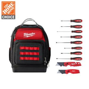 15 in. Ultimate Jobsite Backpack with Screwdriver Set and FASTBACK Utility Knifes (10-Piece)
