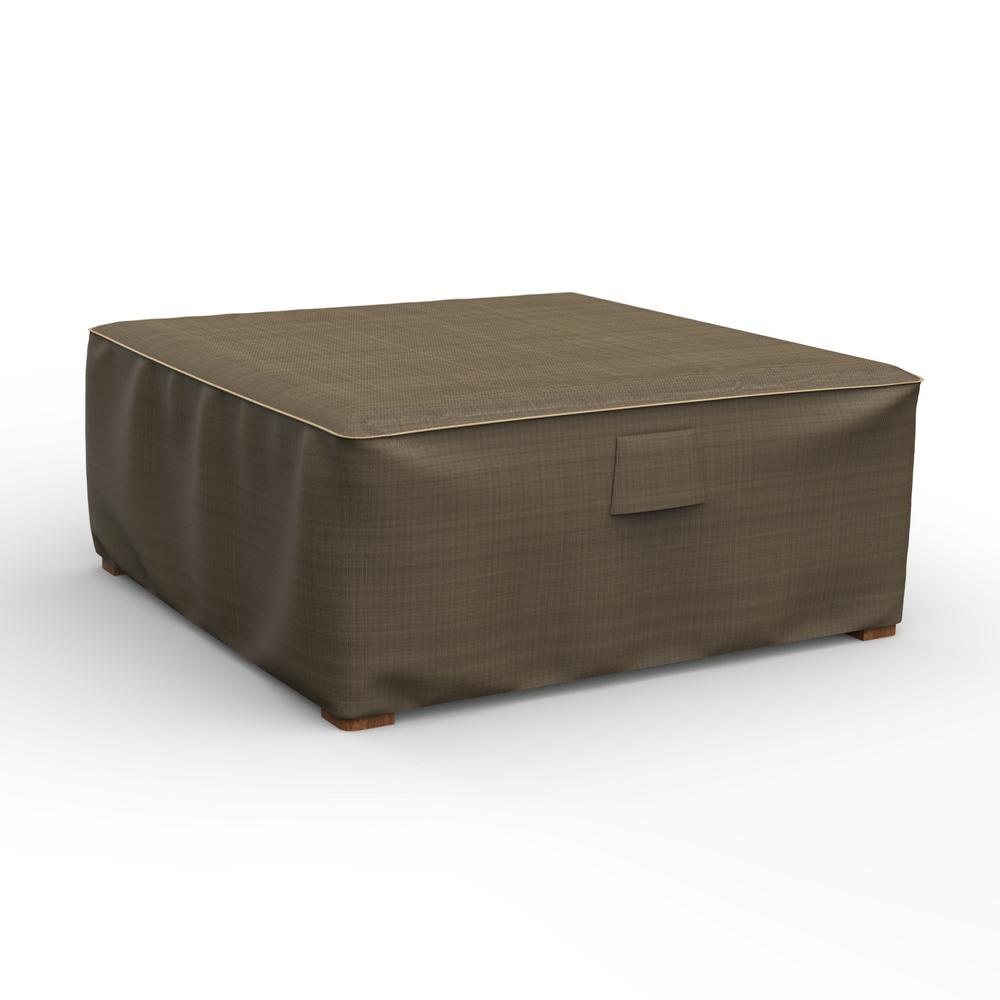 Extra Large Ottoman Slipcovers: Budge NeverWet Hillside Extra-Large Black And Tan Square