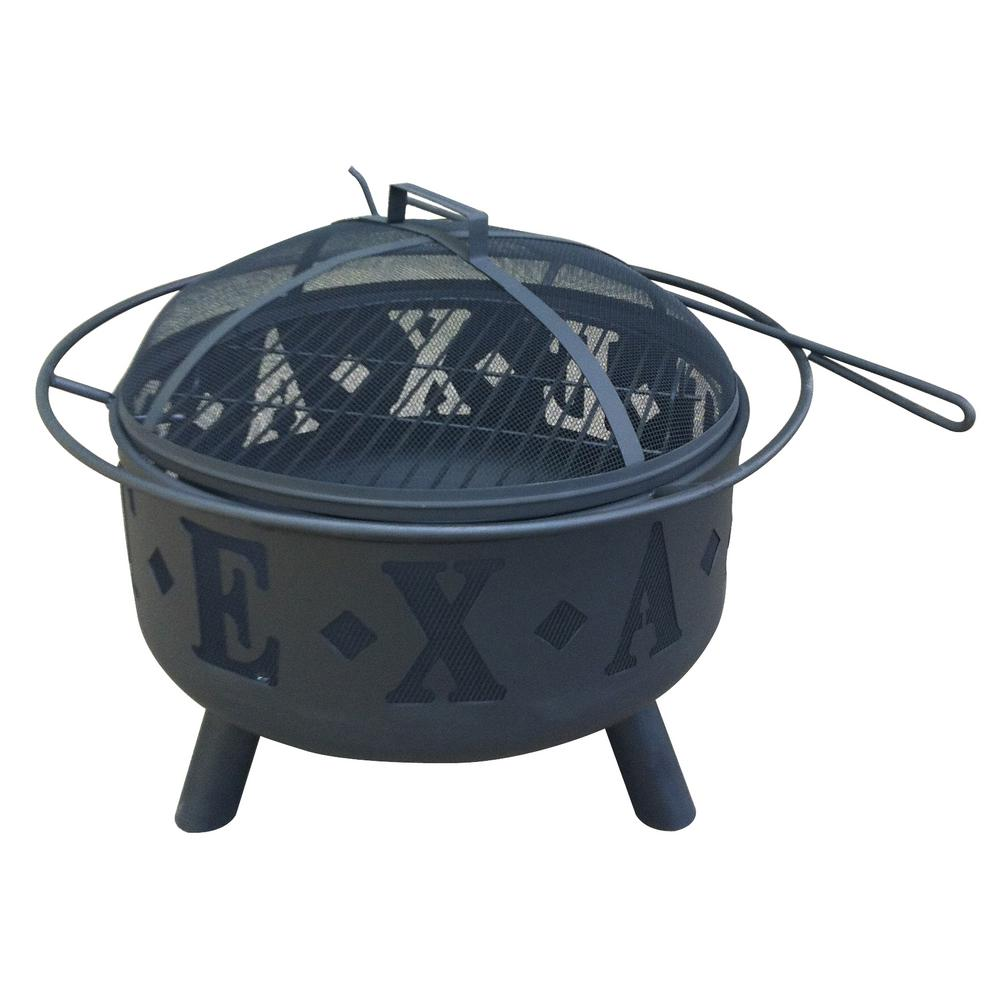 Round Steel Wood Coal Texas Fire Pit in Black - Leigh Country 28 In. Round Steel Wood Coal Texas Fire Pit In Black