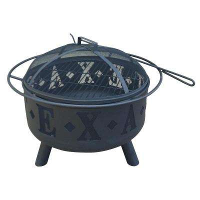 28 in. Round Steel Wood Coal Texas Fire Pit in Black