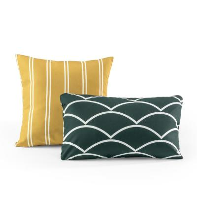 Tecoria Mustard and Everglade Mixed Pattern square Outdoor Pillow - Set of Two