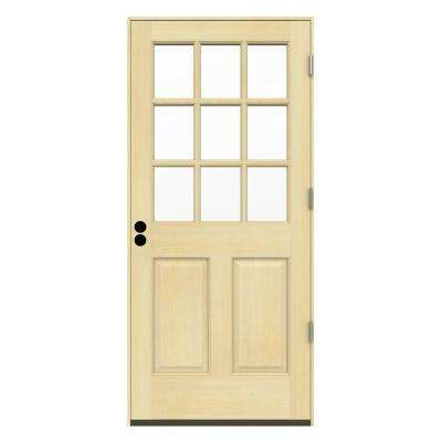 30 in. x 80 in. 9-Lite Unfinished Wood Prehung Left-Hand Outswing Front Door w/Unfinished AuraLast Jamb and Brickmold