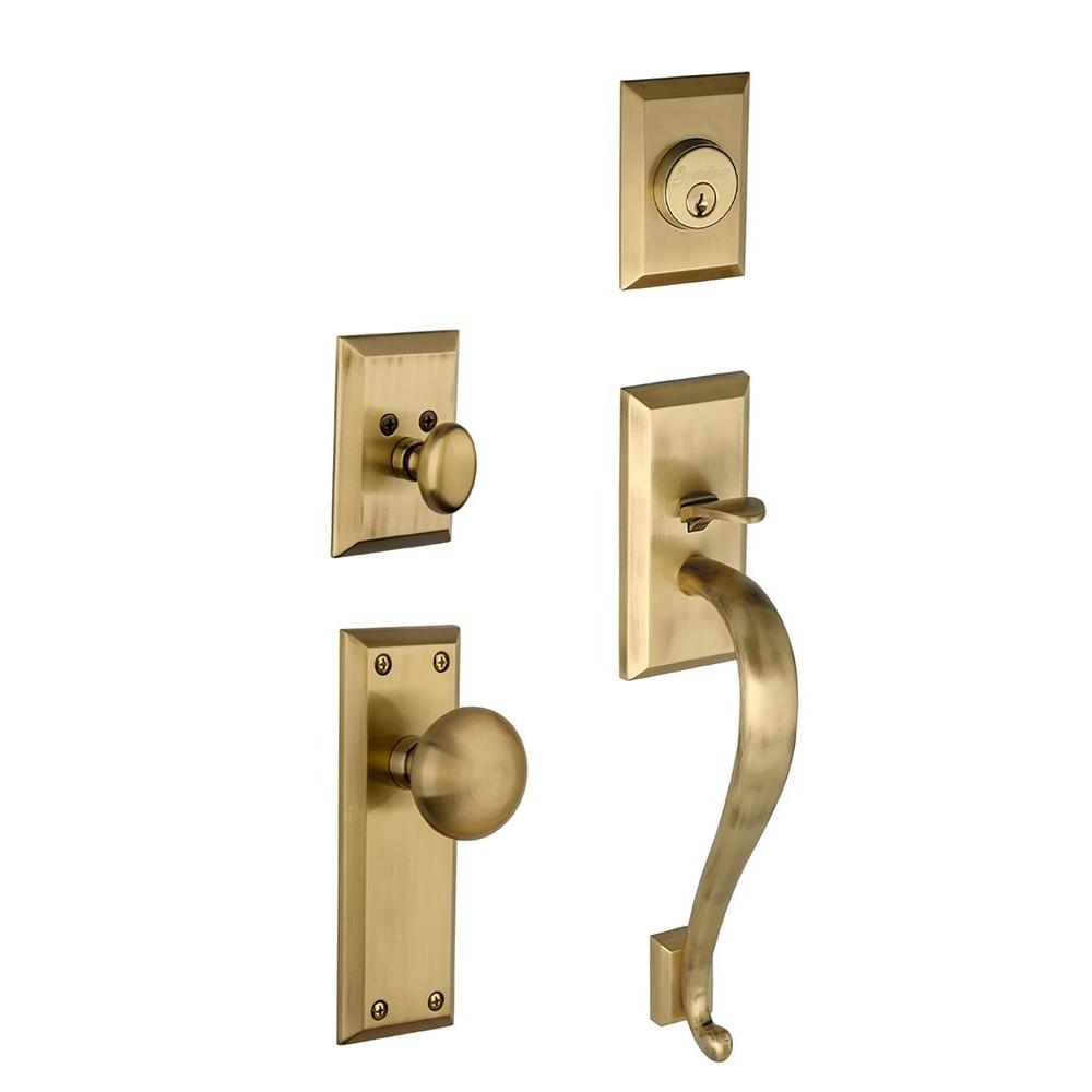 Grandeur Fifth Avenue Single Cylinder Vintage Brass S-Grip Handleset with Avenue Knob