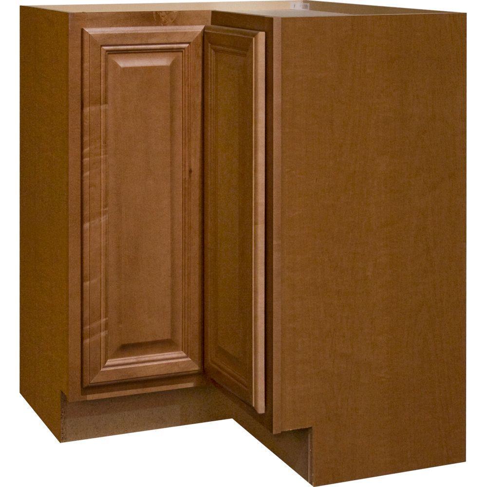 hampton bay cambria assembled in lazy susan corner base kitchen cabinet in. Black Bedroom Furniture Sets. Home Design Ideas