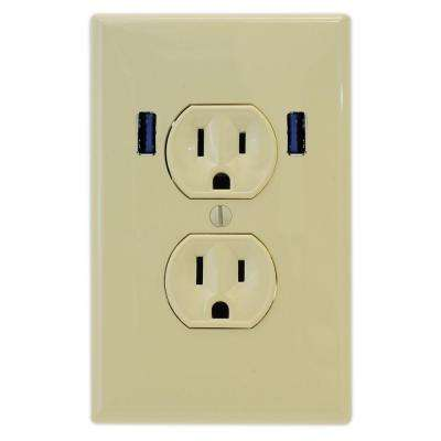 15 Amp Standard Duplex Wall Outlet with 2 Built-in USB Charging Ports - Ivory