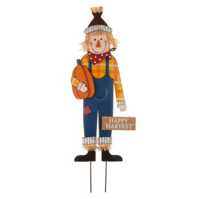 36 in. H Fall Metal Scarecrow Yard Stake/Standing/Hanging Sign (KD, 3-Function)