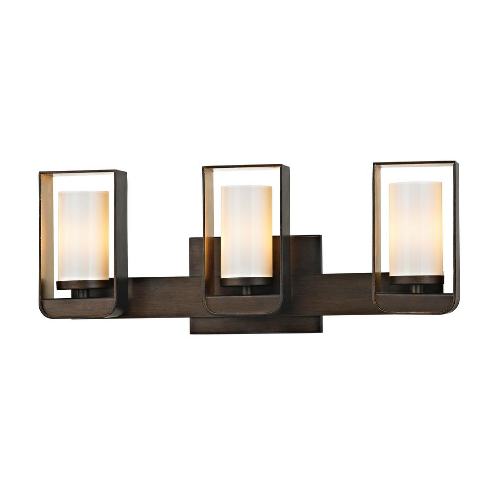 Escape 3-Light Bronze 19.5 in. W LED Bath Light with Gold