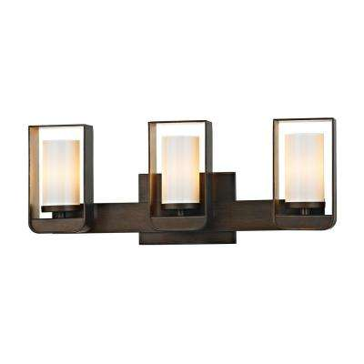Escape 3-Light Bronze 19.5 in. W LED Bath Light with Gold Leaf Accents and Gloss Opal Glass Shade