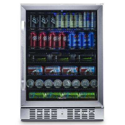 24 in. 177 (12 oz) Can Built-In Beverage Cooler Fridge w/ Precision Temp. Controls, Adjustable Shelves - Stainless Steel
