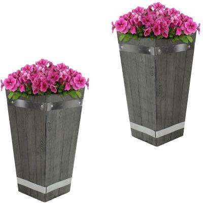 17 in. Courtyard Fiber Clay Square Barrel Durable Wood Plank Design Indoor/Outdoor Use Planter Flower Pot (Set of 2)