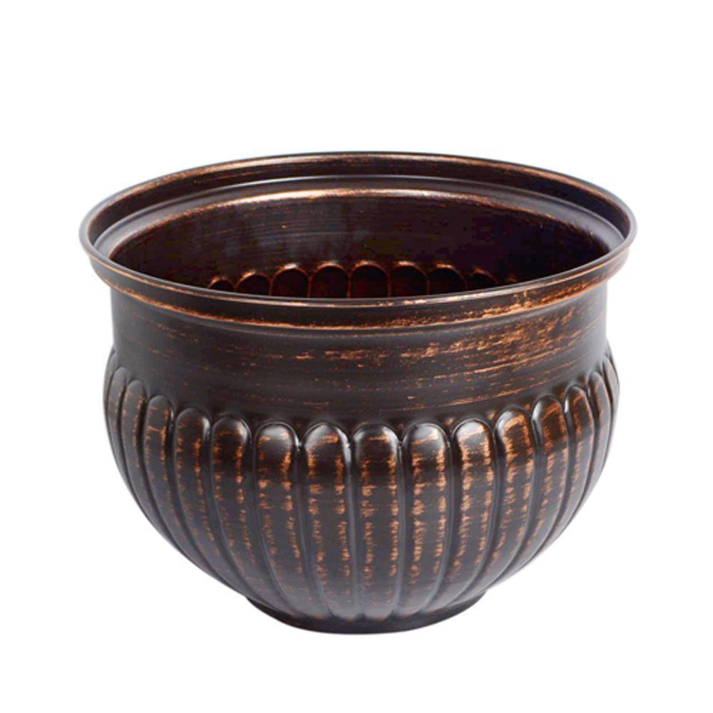 15 in. Bronze Ribbed Metal Bowl Planter