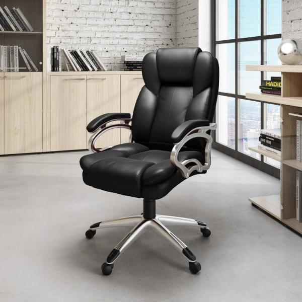 CorLiving Workspace Executive Office Chair in Black Leatherette LOF-408-O