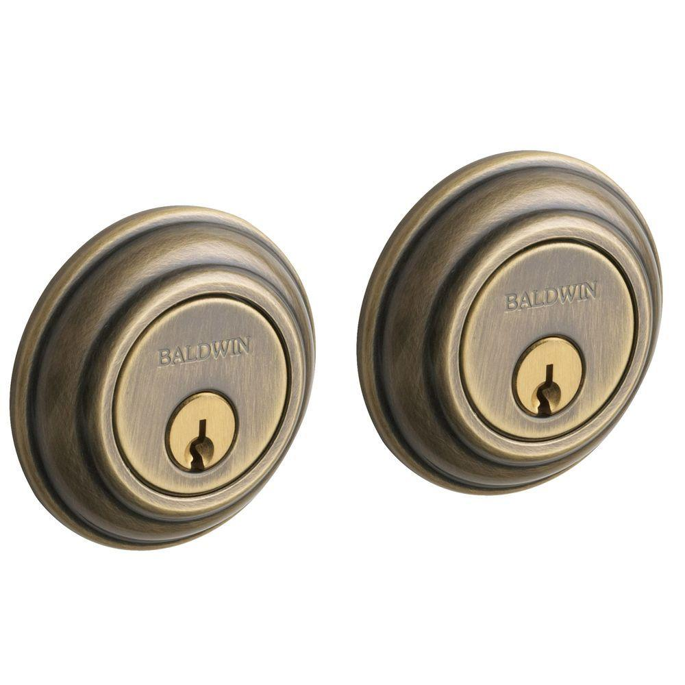 Traditional Satin Brass and Black Double Cylinder Deadbolt